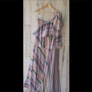 Anthropologie GUAPA Rainbow Ruffled Maxi Dress